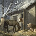 Winter Farmyard by George Morland