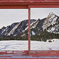Winter Flatirons Boulder Colorado Red Barn Picture Window Frame  by James BO  Insogna