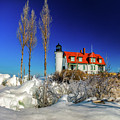 Winter Ice At Point Betsie by Nick Zelinsky