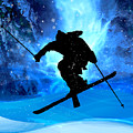 Winter Landscape And Freestyle Skier by Elaine Plesser