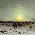 Winter Landscape At Sunset by Ludwig Munthe