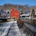 Winter Landscape With A Red Mill Clinton New Jersey by George Oze