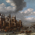 Winter Landscape With Horses Sleighs And Skaters In Front Of A Fortified Town, by Thomas Heeremans