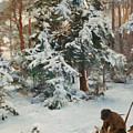 Winter Landscape With Hunters And Dogs by Bruno Liljefors