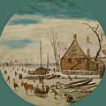 Winter Landscape With Skaters And A Farm House by Esaias van de Velde