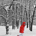 Winter Landscape With Walking Gir In Red. Blac White Concept Gra by Cranach Studio