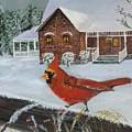 Winter Male Cardinal by Sheli Paez