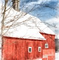 Winter On The Farm Red Barn Newport New Hampshire by Edward Fielding