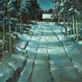 Winter Road In Village by Mark Kremer