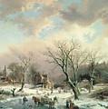 Winter Scene   by Johannes Petrus van Velzen