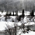 Winter Scene In Black And White by Jim Schlottman