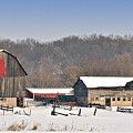 Winter Shed And Barn by Laurie With