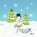 Winter Snowman - All Tangled Up In Lights Snowflakes by Audrey Jeanne Roberts