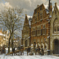 Winter Street Scene. Oudewater by Willem Koekkoek