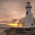 Winter Sunrise At Marblehead Lighthouse by At Lands End Photography