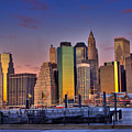 Winter Sunrise Over Downtown Manhattan by Val Black Russian Tourchin