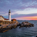 Winter Sunrise Over Portland Head Light by Jesse MacDonald