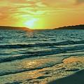 Winter Sunset At Wellfleet Harbor by Linda Crockett