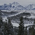 Winter View Of The Snake River, Grand by Raymond Gehman