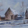 Winter Walk, Watercolor Painting by David K Myers