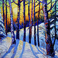 Winter Woodland Sunset Modern Impressionism Palette Knife Oil Painting by Mona Edulesco