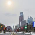 Wintertime - Benjamin Franklin Parkway by Bill Cannon