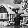 Wintery Cabin Monochrome Art By Kaylyn Franks by Kaylyn Franks