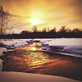 Wintry Sunset Reflections by Pixabay