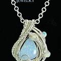 Wire-wrapped Coober Pedy Australian Opal Pendant In Sterling Silver With Ethiopian Opals- Auopss5 by Heather Jordan