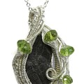 Wire-wrapped Double-trilobite Fossil Pendant In Sterling Silver With Peridot - Trilss11 by Heather Jordan