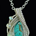 Wire-wrapped Gem Silica Crysocolla Pendant In Sterling Silver With Ethiopian Welo Opals Gmsipss1 by Heather Jordan