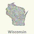 Wisconsin Line Art Map by David Zydd