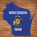 Wisconsin Rustic Map On Wood by Dan Sproul