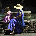 Woman And Child At Pond by Madeline Ellis