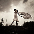 Woman And Material In Wind by Clayton Bastiani