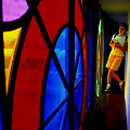 Woman And Stained Glass by Carl Purcell