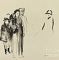 Woman And Two Children With German Soldiers by Jean-louis Forain