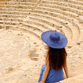 Woman At Greco-roman Theatre At Kourion Archaeological Site In C by Oleksiy Maksymenko