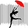 Woman Dancing In The Rain With Red Umbrella by Serena King