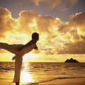 Woman Doing Yoga On Golden Beach by Dana Edmunds - Printscapes