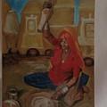 Woman Grinding by Bindu Bajaj