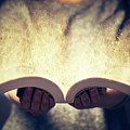 Woman Holding An Open Book Bursting With Light. by Michal Bednarek