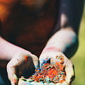 Woman Holding Colorful Powder In Her Hands. by Michal Bednarek