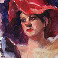 Woman In A Floppy Red Hat by Merle Keller
