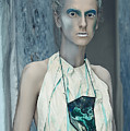 Woman In Ash And Blue Body Paint by Veronica Azaryan