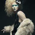 Woman In Black Avant-garde Attire With Butterfly Headdress by Benedict Salvacion