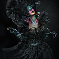 Woman In Black Gown And Headdress In Body Paint by Erich Caparas