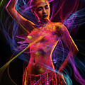Woman In Colorful Body Paint With Light Streaks by Erich Caparas