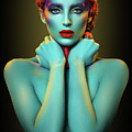 Woman In Cyan Body Paint With Curly Hairstyle by Erich Caparas