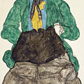 Woman In Green Blouse With Muff by Egon Schiele